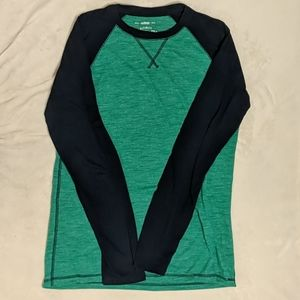 Green and black baseball long sleeve shirt
